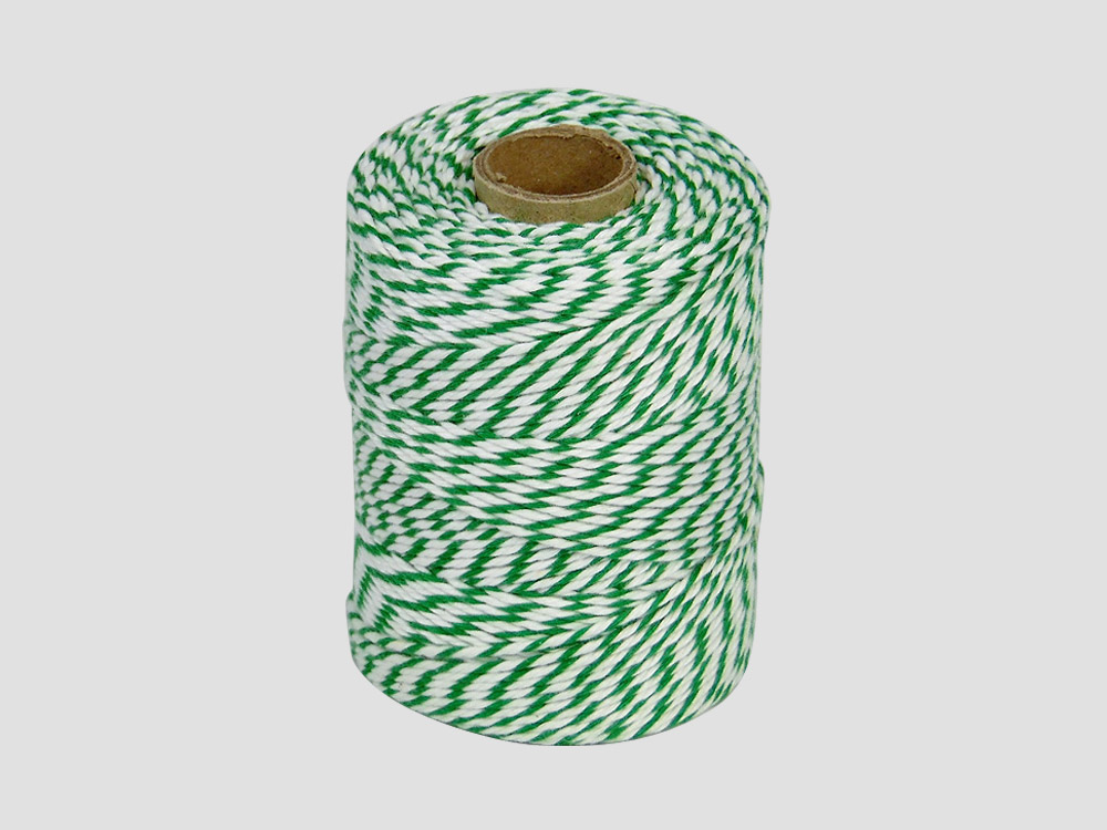 Cotton butcher twine Green/White 250 gr